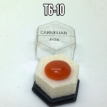 Carnelian natural mineral/gemstone specimen in display box